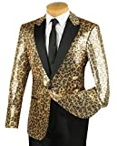 Vinci Men's Gold Cheetah Print Sequins 1 Button Classic-Fit Tuxedo Jacket w/Black Shawl Lapel New [Size:Size: 4XL]