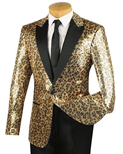 Vinci Men's Gold Cheetah Print Sequins 1 Button Classic-Fit Tuxedo Jacket w/Black Shawl Lapel New [Size:Size: (1 Button Tuxedo Jacket)