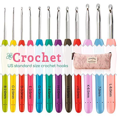 [해외]12 PCS Crochet Hooks Set 2mm(B)-8mm(L) Ergonomic Soft Handle US Sizes Knitting Needles KitPortable Case - Best Gift for Mom / 12 PCS Crochet Hooks Set, 2mm(B)-8mm(L) Ergonomic Soft Handle, US Sizes Knitting Needles KitPortable Case...