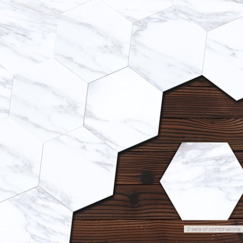 VANCORE White Marble Stickers Tile Contact Paper Hexagon Skip Proof Kitchen Bathroom Decals Self Adhesive 4.53x7.87 10 Pcs/set