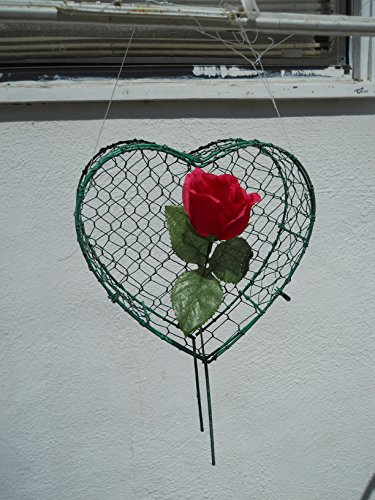 Heart Flower 7 inches high Topiary Frame, Handmade Animal Decoration by S.K 703 Topiary Inc.