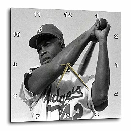 3dRose DPP_80393_3 Picture of Jackie of The Brooklyn Dodgers Wall Clock, 15 by 15-Inch ()