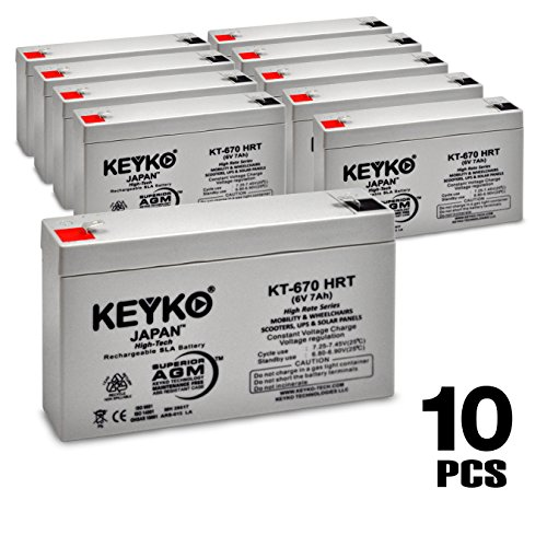 Genuine KEYKO 6V 7Ah / REAL 7.8 Amp Deep Cycle High Rate Series SLA / AGM Battery Medical Solar & Mobility - 10 Pack by KEYKO