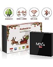 Android 8.1 TV Box, Superpow Smart TV Box Quad Core 4GB RAM+64GB ROM, BT 4.1, 4K*2K UHD H.265, HDMI, USB*3, WiFi Media Player, Android Set-Top Box