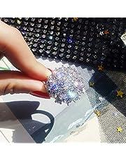 S925 فضة إسترلينية فاخرة الماس الكامل جولة سوبر فلاش الزركون الدائري الأزياء الراقية مقلد الزفاف أو خاتم الخطوبة للنساء