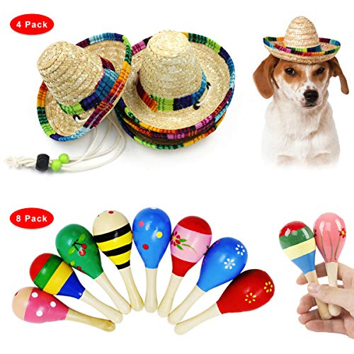 Eternity J. 4 Pack Mini Sombrero Mexican Hat 8 Pcs Mini Wooden Fiesta Maracas Party Supplies Fiesta Birthday Party Decorations Cinco de Mayo Party Toys for Kids Boys Girls]()