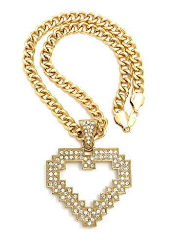 Crown Women's Stone Studded Large Heart Pendant Necklace, 8mm 18