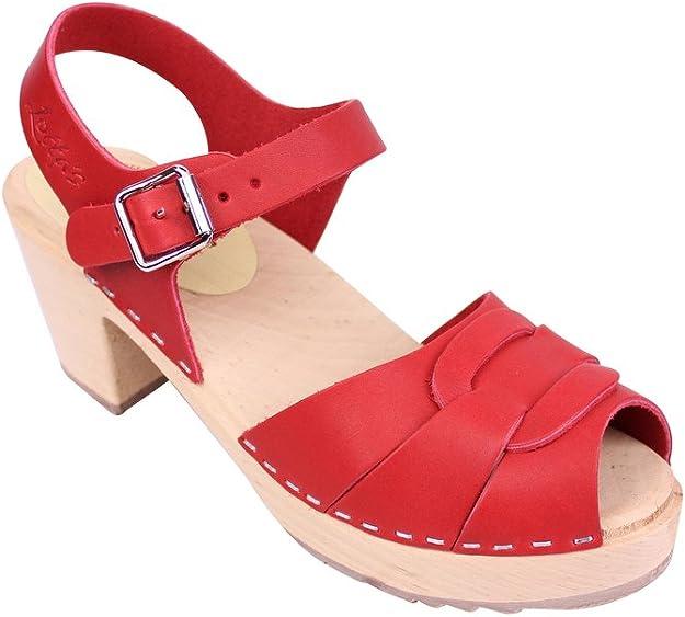 Lotta From Stockholm Sabots suédois: Sabots sandales en cuir rouge