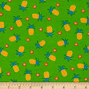 Fabric Merchants Green Cotton/Lycra Spandex Jersey Knit Pineapple Pint