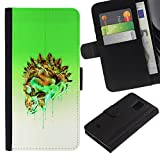 UPPERHAND (Not For Regular S5) Stylish Image Picture Black Leather Bags Cover Flip Wallet Credit Card Slots TPU Holder Case For Samsung Galaxy S5 Mini, SM-G800 - green crystal gold skull white poison