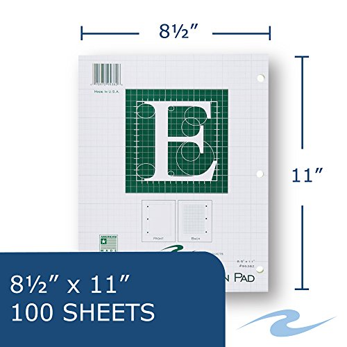 Case of 48 Engineer Pads, 8.5''x11'', 100 sheets of 16# Green tint Paper, 5x5 printed Grid, 3-Hole Punched, top glued, Extra Heavy Backing by Roaring Spring (Image #2)