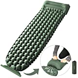 OlarHike Camping Sleeping Pad for Backpacking, Ultralight & Compact Camping Pad with Pillow, Inflatable Sleeping mat for Hiking, Travelling-Green