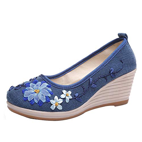 (Respctful✿Women Loafers Slip On Shoes Casual Summer Slip On Embroidered Wedge Sandal Shoes Fashion Boat Shoe Blue )