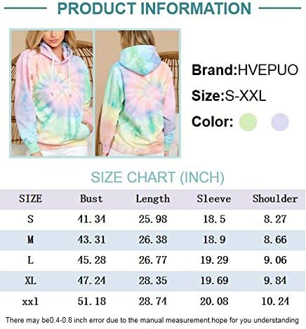 HVEPUO Color Block Tie Dye Printed Pullover Loose Crewneck Or Hoodie Long Sleeve Casual Tops Sweatshirts for Women(S-XXL)