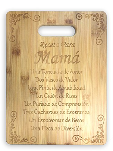 Receta Para Mama Recipe Mom (Spanish) Laser Engraved Bamboo Cutting Board - Gifts For Him, For Her, For Boys, For Girls, For Husband, For Wife, For Them, For Men, For Women, For Kids