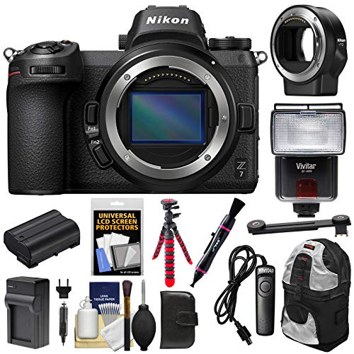 Nikon Z7 Mirrorless Digital Camera Body with Mount Adapter FTZ + Battery & Charger + Backpack + Tripod + Flash + Remote + Kit
