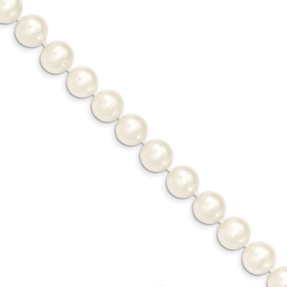Beautiful Yellow gold 14K 14k 9-10mm White Near Round Freshwater Cultured Pearl Necklace