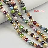 HYBEADS Natural Cultured Freshwater Pearl Beads,a Grade ,Mixed Color, 6-7mm, Great for Jewelry Making ,Loose Beads 88-31