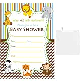 50 Fill in Blank Baby Shower Invitations Jungle Animals with White Envelopes