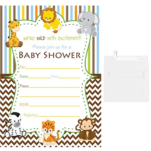 Blank Fill in Baby Shower Invitations Safari Animals with White Envelopes - Invitations Animal Jungle Shower Baby