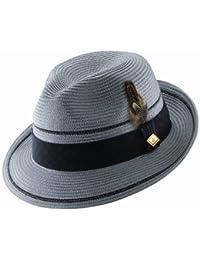 Polybraid Summer Hat Fedora Pinch Front Grey Men's Size Large