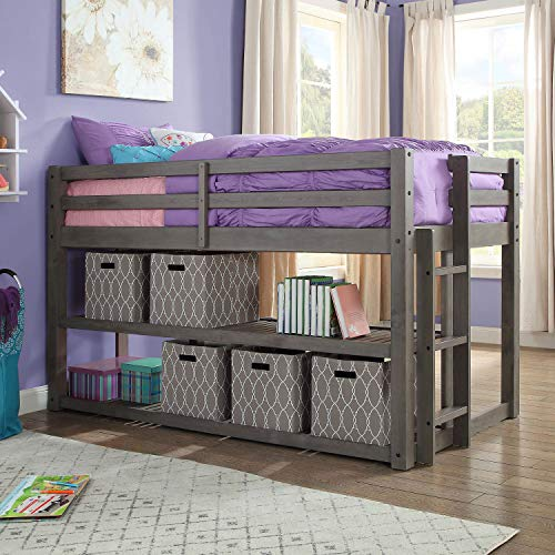 - Better Homes and Gardens Loft Storage Bed with Spacious Storage Shelves, Multiple Finishes, Slate