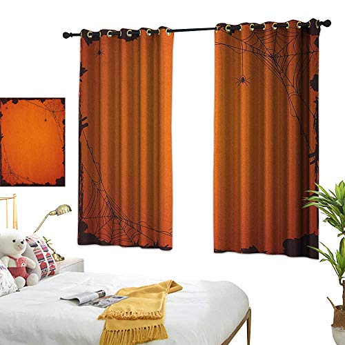 Living Room Curtain W72 x L45 Spider Web,Grunge Halloween Composition Scary Framework with Insects Abstract Cobweb, Orange Brown Bedroom Living Room Dining Room