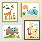 "Giraffe Safari, Jungle Animals Nursery Wall Art, Decor. Kids Bedroom Decor (8""x10"", (4) Set of Four)"