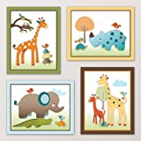 Giraffe Safari, Jungle Animals Nursery Wall Art, Decor. Kids Bedroom Decor (8''x10'', (4) Set of Four)