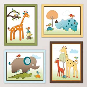 Amazon.com : Giraffe Safari, Jungle Animals Nursery Wall ...
