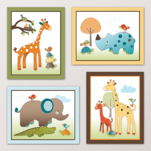 Giraffe Safari Jungle Animals Nursery Wall Art Decor Kids Bedroom Decor 8quotx10quot 4 Set of Four