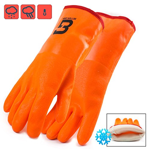 Better Grip Heavy Duty BG12ORG Premium Fully Coated PVC Glove, 3 Layers Liner, 12-inch Gauntlet Cuff (1 -