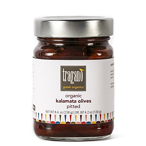 Tragano Greek Organics - Pitted Kalamata Greek Olives | USDA-Certified Organic | 8 oz jar - small batch, single-source - Greek Black Olives