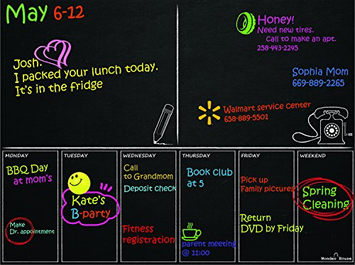 Magnetic Refrigerator Calendar Chalkboard Appointment product image