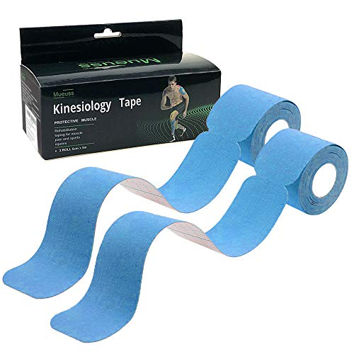 MUEUSS Precut Kinesiology Tape Sports Hypoallergenic Waterproof Breathable Elastic Tape Recovery Sports Athletic Physio Therapy Injury Support for Ankle, Muscles,Elbow, Knee & Shoulder(Blue,2 Rolls)