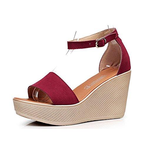 para Cuero Color Verde Rojo 43 Mujer Zapatos Negro Primavera tamaño Confort talón Rojo Casual de Nubuck cuña Verano Sandalias vvZnfRqt