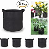 5-Pack 15 Gallon Grow Bags /Soft-Sided Fabric Garden Plant Container Aeration Planter Pots (Black) (15-Gallons)