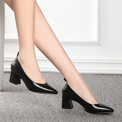 Hauts Femme Ans Chaussures Des Noir Femme Et Sauvage Printemps Talons 38 Brut Chute Automne Pro ctH6a