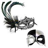 Simone Deluxe Peacock-Black Silver Masquerade Masks for a Couple