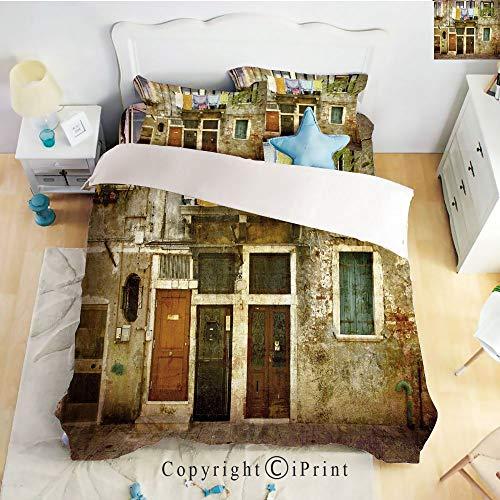 Home Luxury 4-Piece Bed Sheet,Old Weathered Building Facade with Hanged Clothes Murano Island Grunge Architecture,Multicolor,Queen Size,Softest Bed Sheets and Pillow Cases