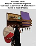 Restyled Farmhouse Rustic Wall Organizer with Key Hooks & Coat Hooks - Shelf - Mail Slot Pocket, Available in 20 Colors - Shown in Special Walnut- Floating Rustic Wall Shelf - Mail Holder with Hooks