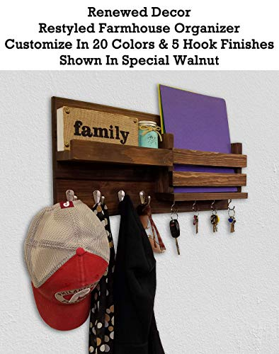 (Restyled Farmhouse Rustic Wall Organizer with Key Hooks & Coat Hooks - Shelf - Mail Slot Pocket, Available in 20 Colors - Shown in Special Walnut- Floating Rustic Wall Shelf - Mail Holder with Hooks)