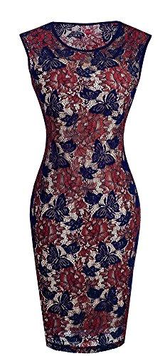 HOMEYEE - Vestido - ajustado - Sin mangas - para mujer Dark Blue + Red