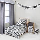 Bacati MixNMatch Grey 4 pc Toddler Bedding Set,