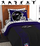NFL BALTIMORE RAVENS 5pc Twin Size Comforter, Pillow Sham & Sheet Set + WALL DECALS