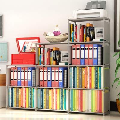 Binxin Kids Bookshelf 4 Tier Kid Toy Shelf 9-Cube Cabinet Bookcase Mueble para Libros, Grey ()