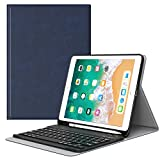 MoKo Keyboard Case for iPad 9.7 2018 with Apple Pencil Holder - Wireless Keyboard Cover Case for Apple All-New iPad 9.7 Inch 2018 Released Tablet (A1893/A1954), Indigo