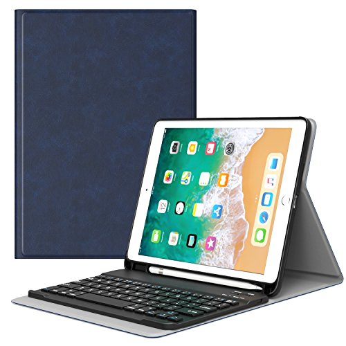 MoKo Keyboard Case for iPad 9.7 2018 with Apple Pencil Holder - Wireless Keyboard Cover Case for Apple All-New iPad 9.7 Inch 2018 Released Tablet (A1893 / A1954), Indigo
