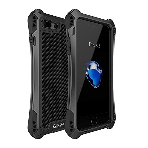 iphone 7 plus case,Feitenn Water resistant Armor case Extreme Alloy Aluminum Metal Bumper Gorilla Glass Soft Rubber Military Heavy Duty Shockproof Hard Case For iphone 7 plus 5.5 inch (Black/Black) ()