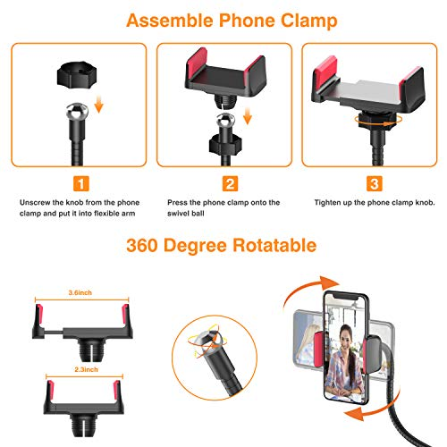 Selfie Ring Light, UPGRADED Selfie Light with Cell Phone Holder Stand for Live Stream Makeup Including Remote Shutter, LED Camera Light 3 Light Mode 10 Level Brightness Flexible Arm for iPhone/Android by Erligpowht (Image #5)